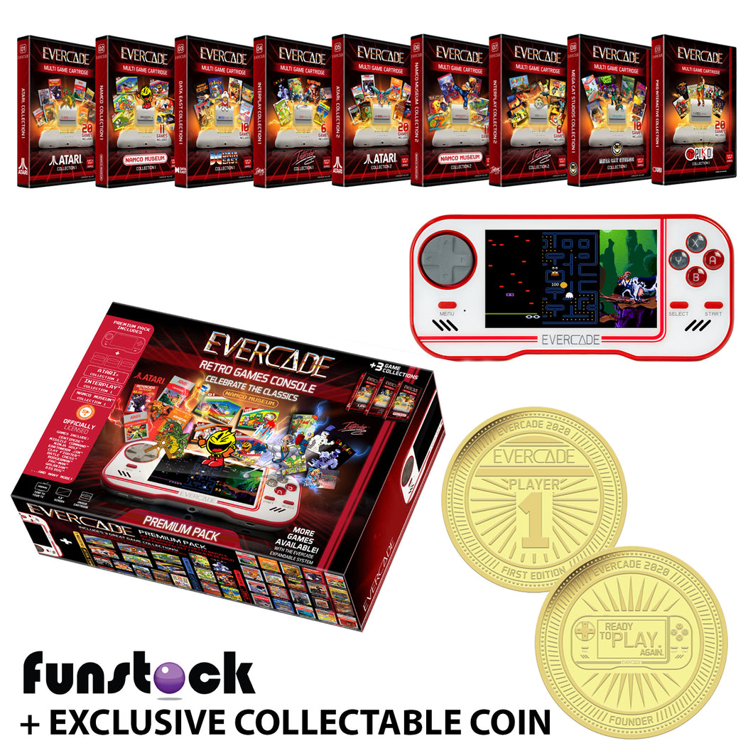 Evercade - ALL-IN Edition (White) + Free Case + Exclusive Collectable Coin