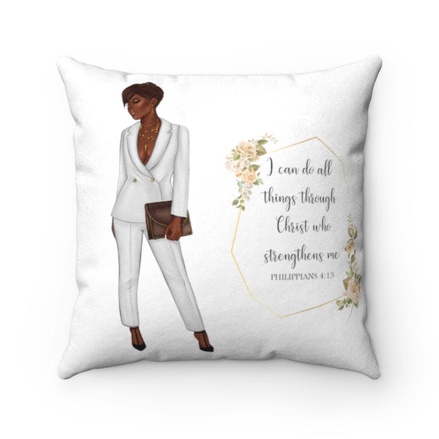 I Can Do All Things Suede Pillow - Iconic Style Inc