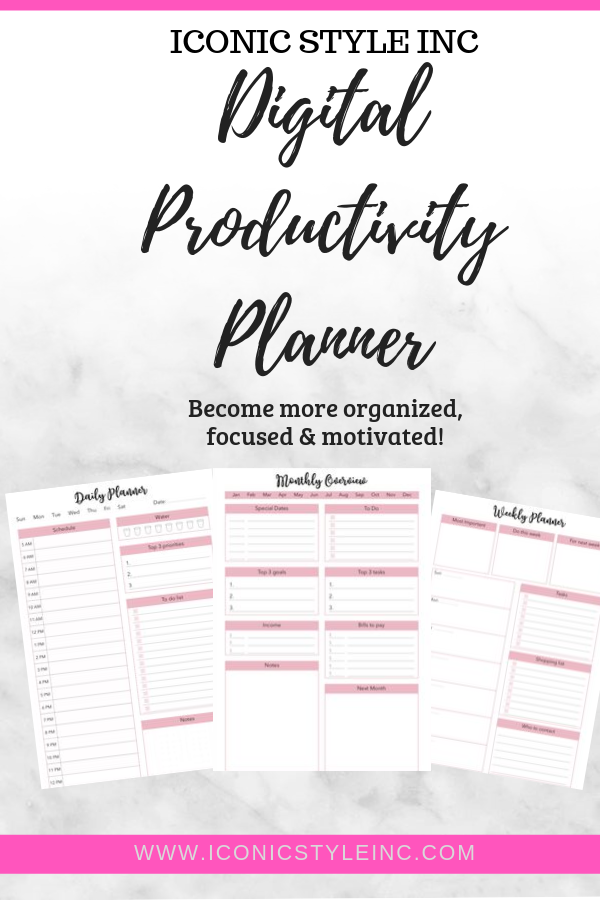 The Productivity Planner for the Purposeful Woman - Iconic Style Inc