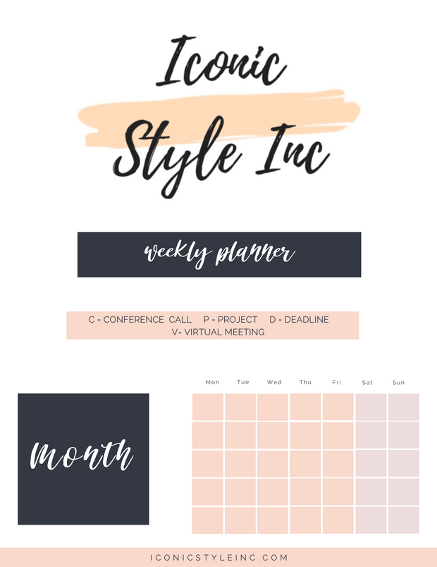 Hustle at Home - Weekly Printable Planner - Iconic Style Inc