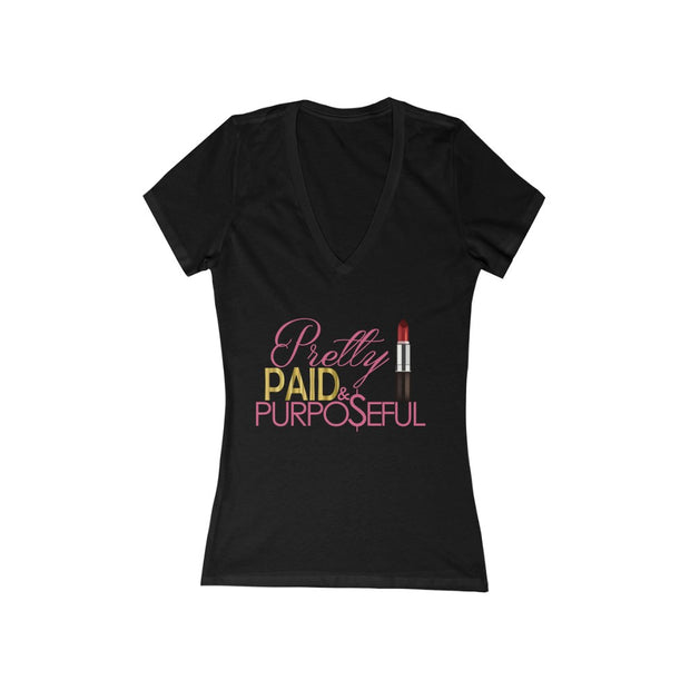 Pretty & Paid - Women's Jersey Short Sleeve V-Neck Tee - Iconic Style Inc.