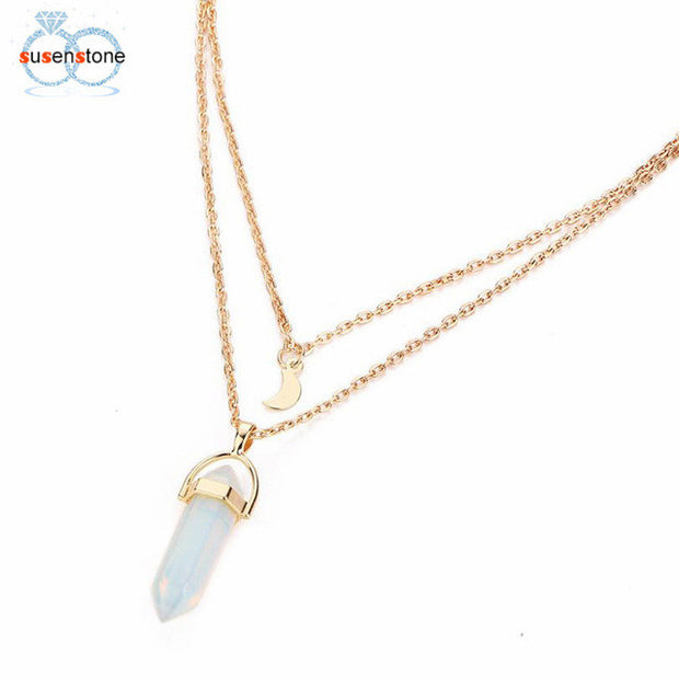 Stars are Aligned Multi layer Opal Pendant Necklace - Iconic Style Inc.