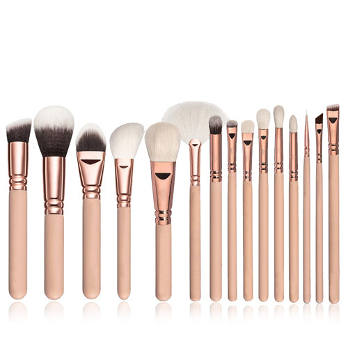 15pcs Pink Makeup Brushes Set - Iconic Style Inc