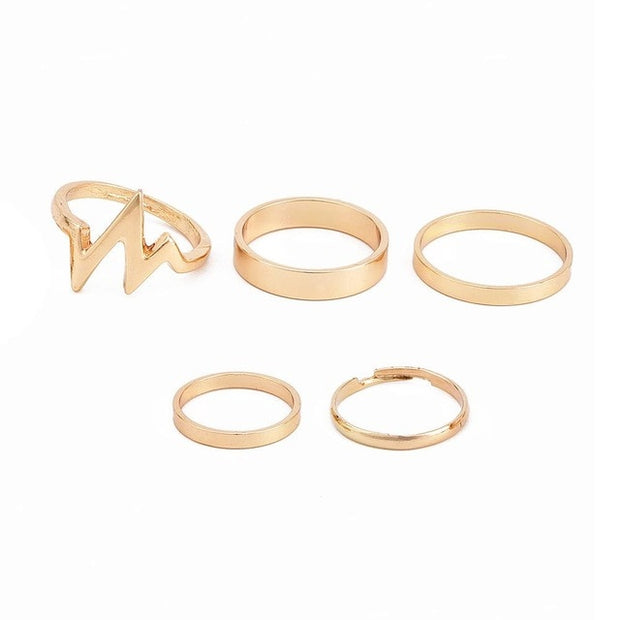 Trendy Chic 5 Piece Ring Set - Iconic Style Inc.