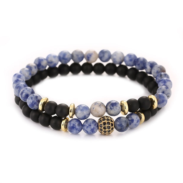 Meditation Natural Stone Bracelet 2pc sets - Iconic Style Inc.