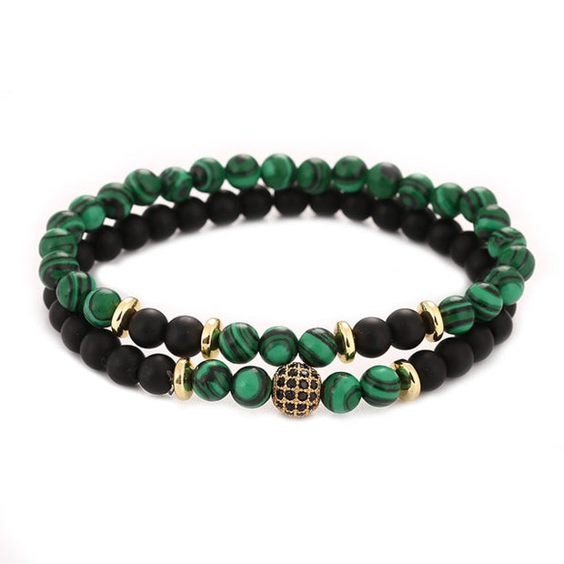 Meditation Natural Stone Bracelet 2pc sets - Iconic Style Inc