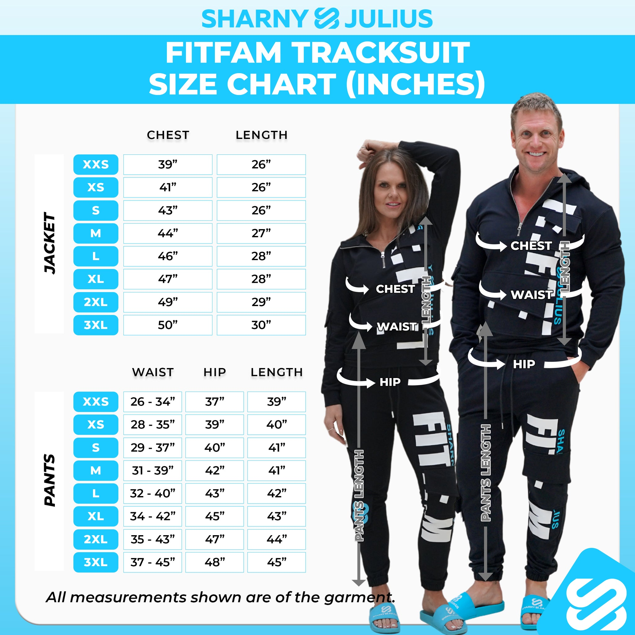 fitfam tracksuit size chart inches