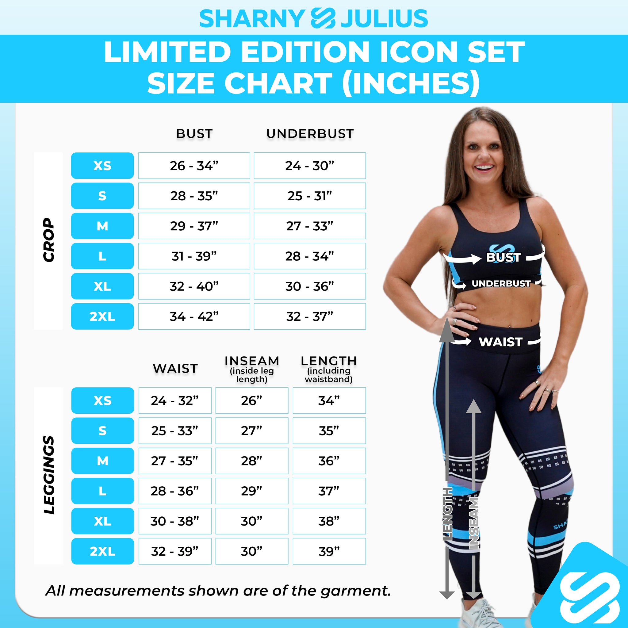 icon set size chart inches
