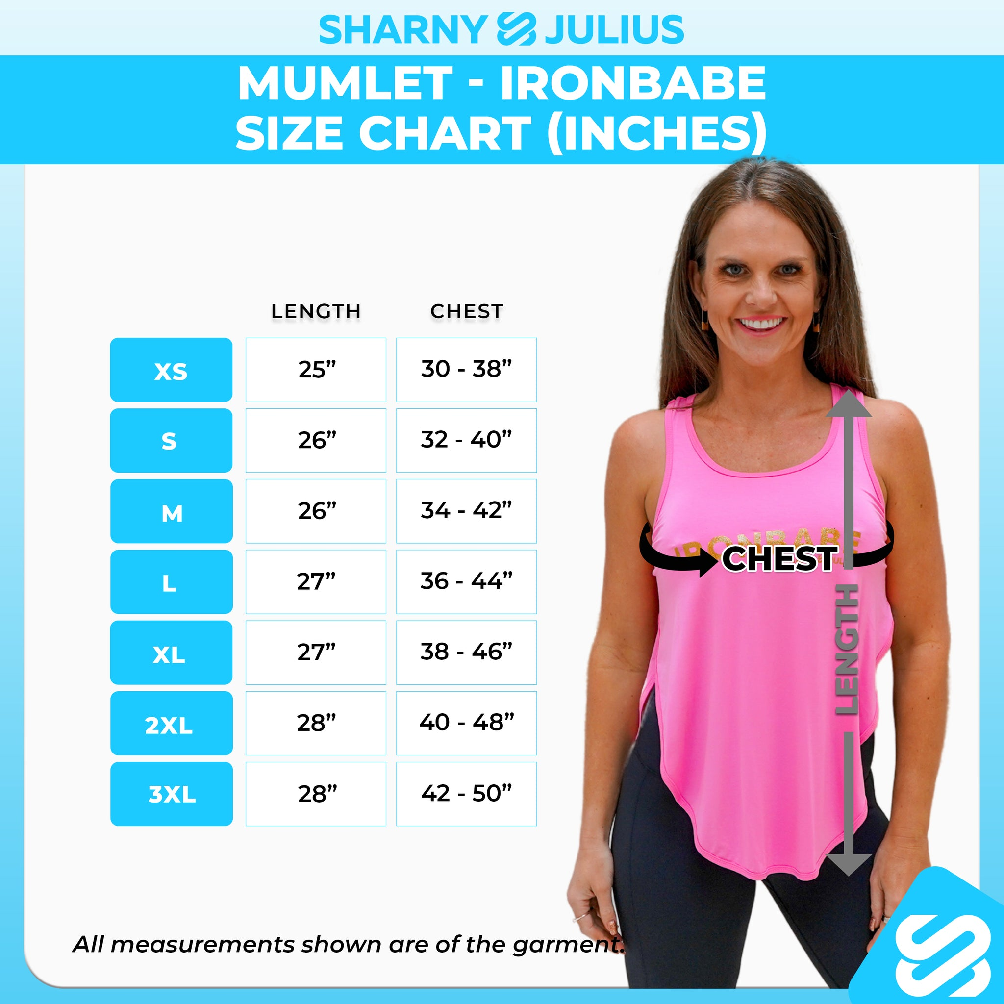ironbabe size chart inches