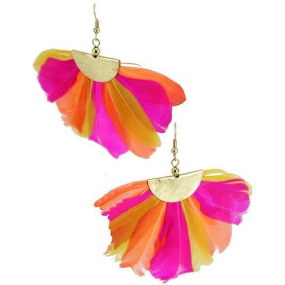 Feather Fan Hook Earrings
