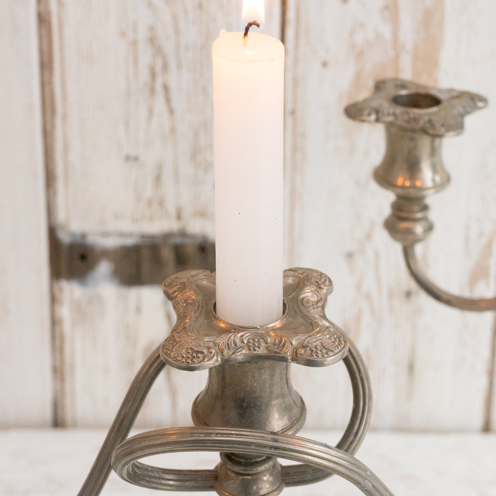 VINTAGE SILVER PLATED THREE ARM CANDLESTICK