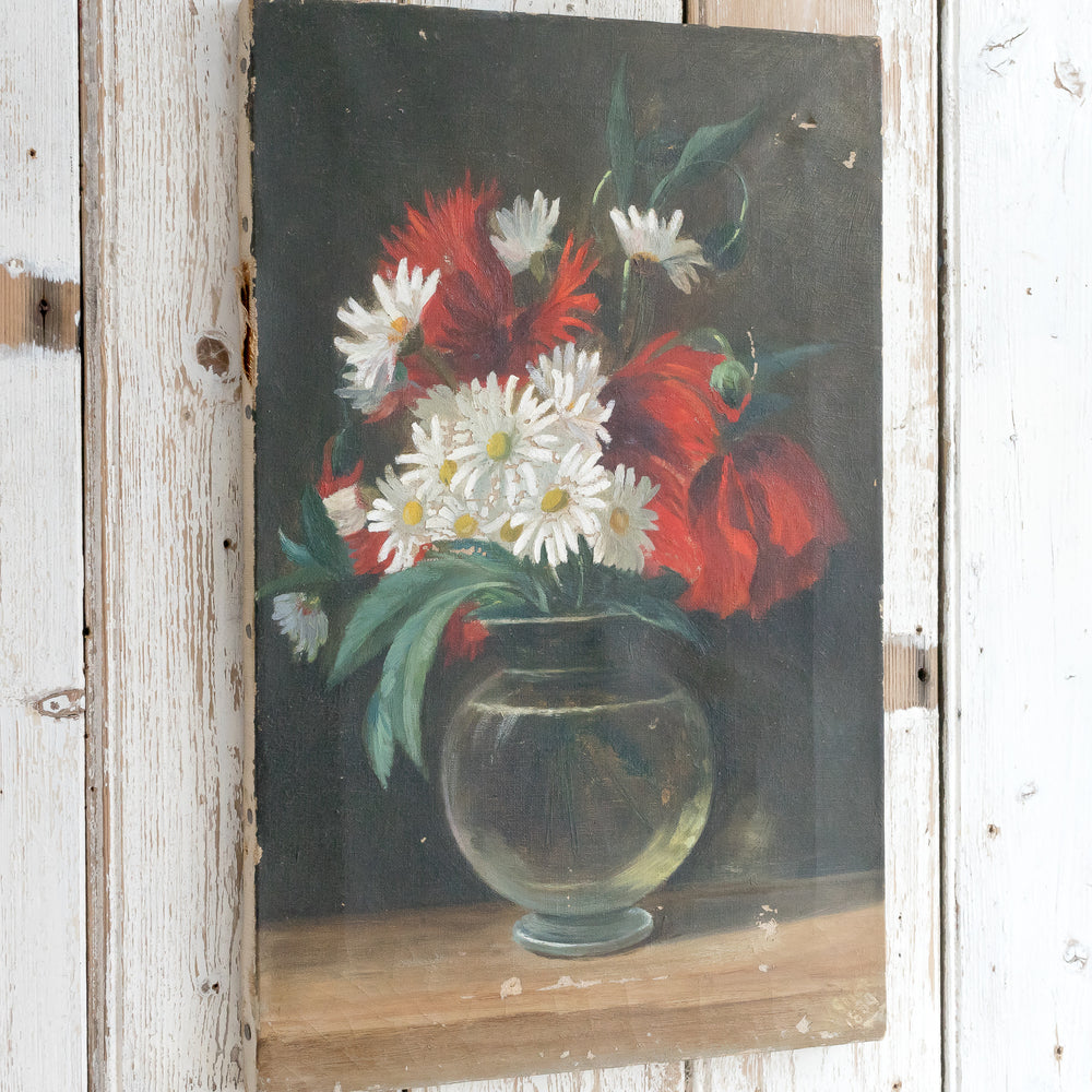 DAISY AND POPPY FLORAL OIL PAINTING