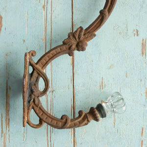 DECORATIVE METAL AND GLASS HOOK