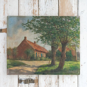 FRENCH FARMHOUSE OIL PAINTING