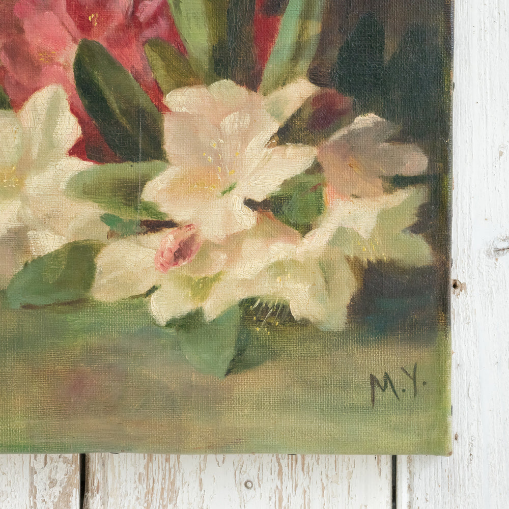 Load image into Gallery viewer, FLORAL RHODODENDRON OIL PAINTING