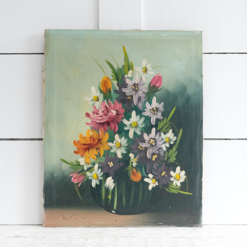 PRETTY FRENCH FLORAL OIL PAINTING