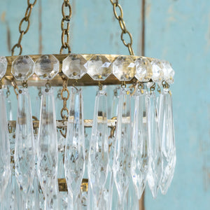 SMALL THREE TIER CRYSTAL CHANDELIER