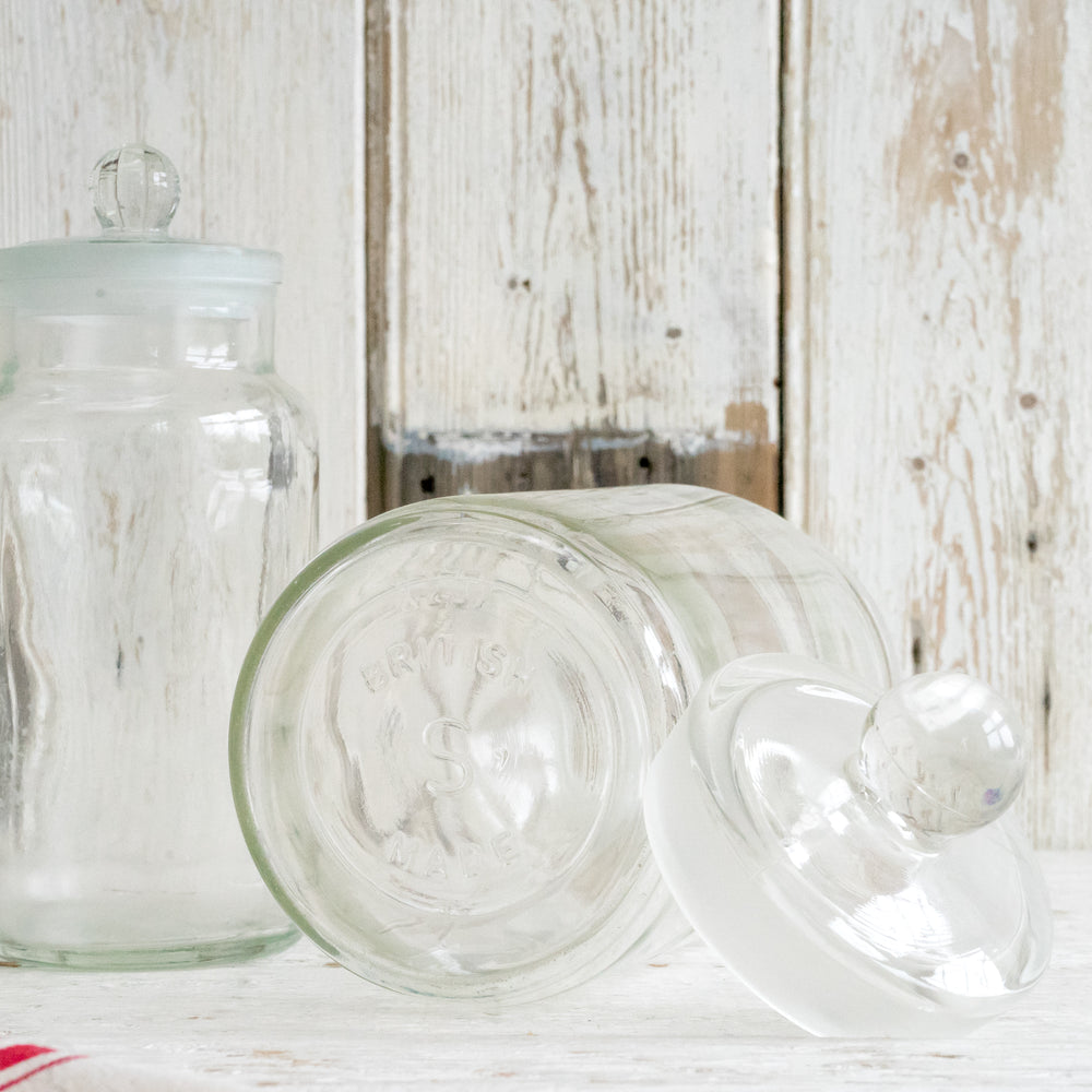 Load image into Gallery viewer, VINTAGE GLASS STORAGE JAR