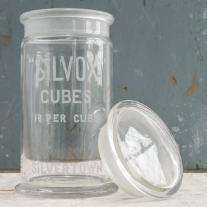 Load image into Gallery viewer, VINTAGE ETCHED SILVOX CUBES STORAGE JAR