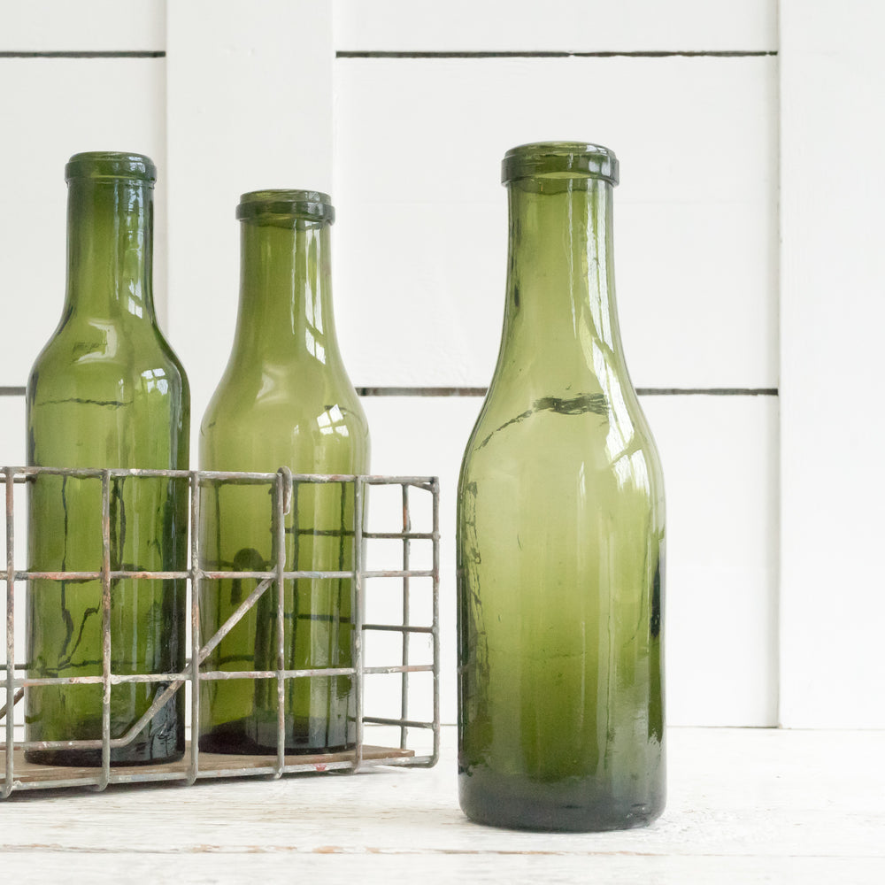 VINTAGE FRENCH HAND BLOWN GREEN BOTTLE