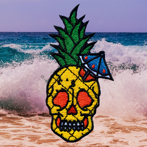 Pineapple Skull Embroidered Patch