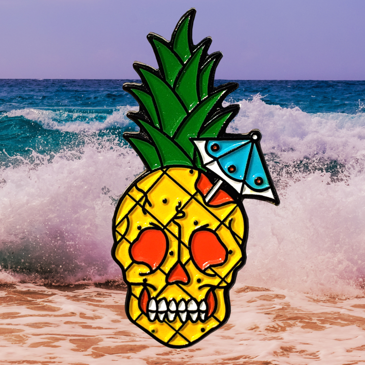 Pineapple Tiki Skull Enamel Pin