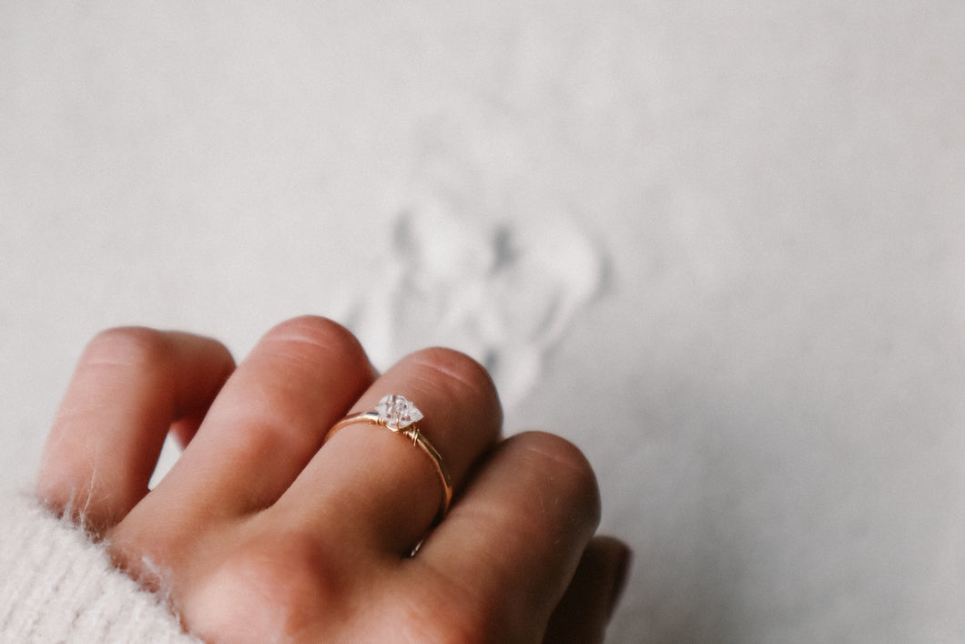 Mini Herkimer Diamond Solitaire