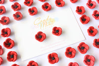 poppy earrings handmade handcrafted polymer clay earring studs ANZAC Day Rememberance Day Candy Mint Designs