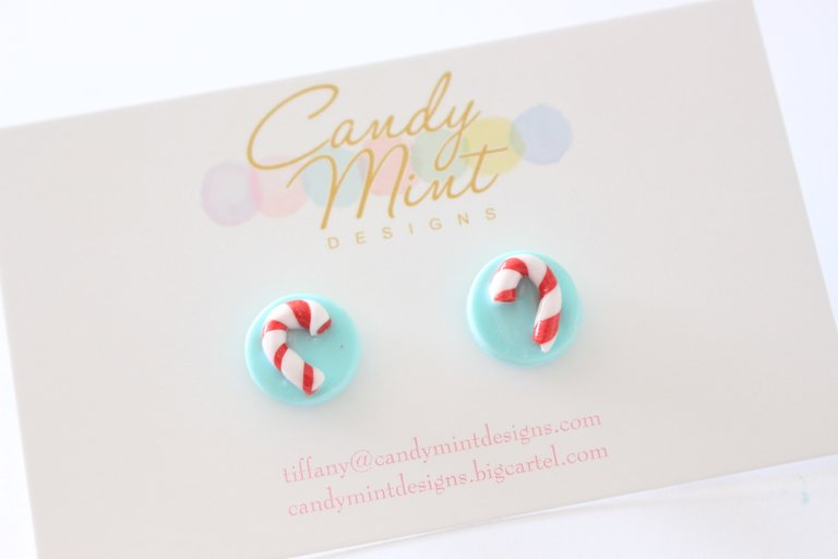 Christmas Candy Cane Studs