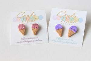 Glitter Ice Cream Studs and Clip On