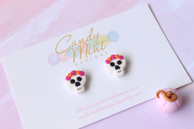 Flower Crown Skull Studs