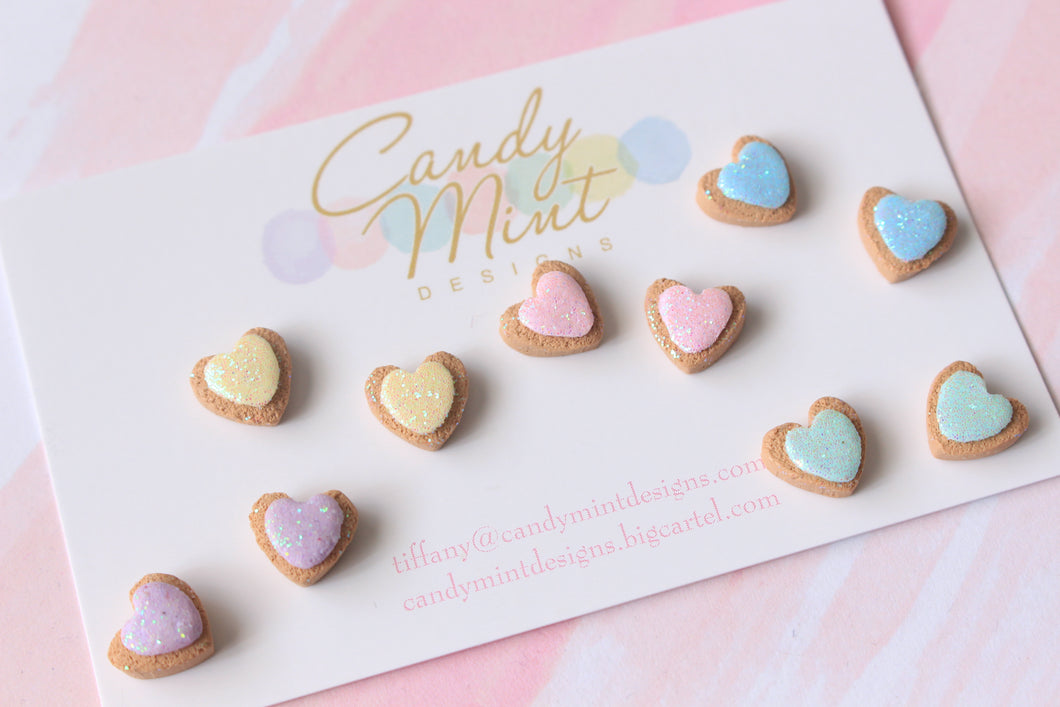 Glitter Heart Cookie Studs