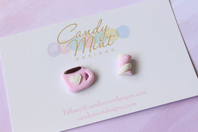 Hot Choccy and Marshmallow Twist Studs