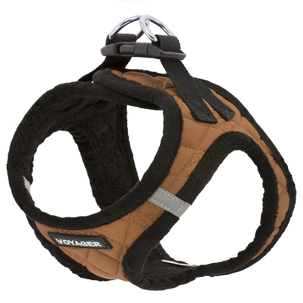 VOYAGER Quilted Step-In Plush Pet Harness in Beige - Expanded