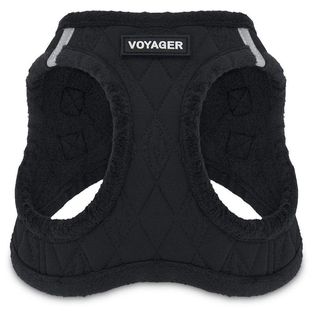 VOYAGER Quilted Step-In Plush Pet Harness in Black - Front