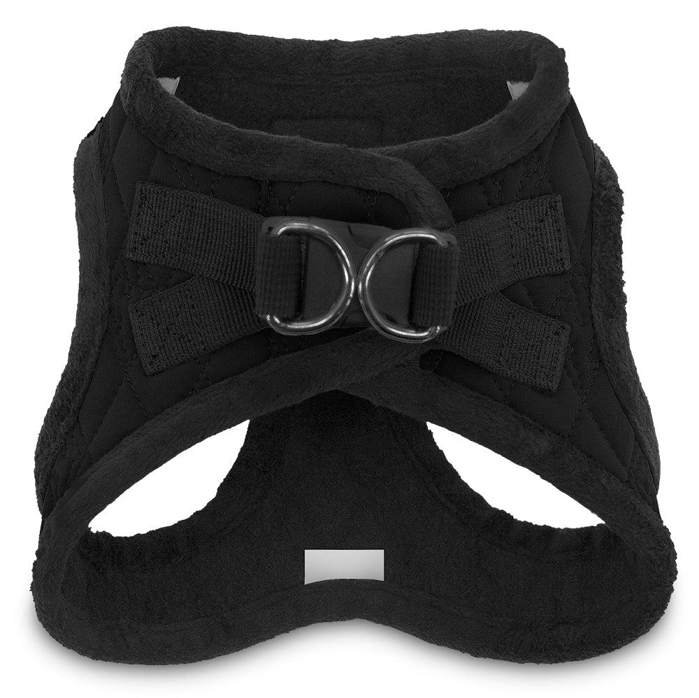 VOYAGER Quilted Step-In Plush Pet Harness in Black - Back