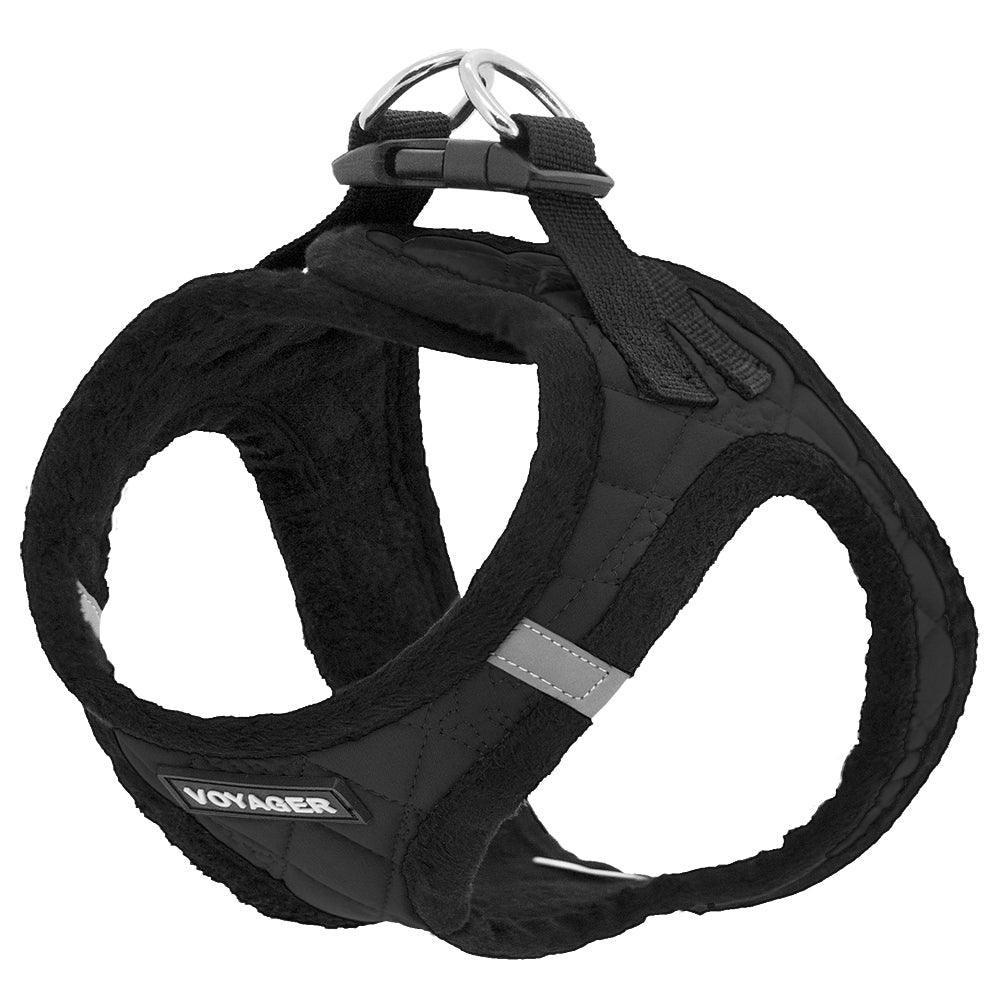 VOYAGER Quilted Step-In Plush Pet Harness in Black - Expanded