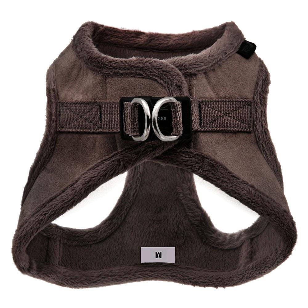 VOYAGER Suede Step-In Plush Pet Harness in Chocolate - Back
