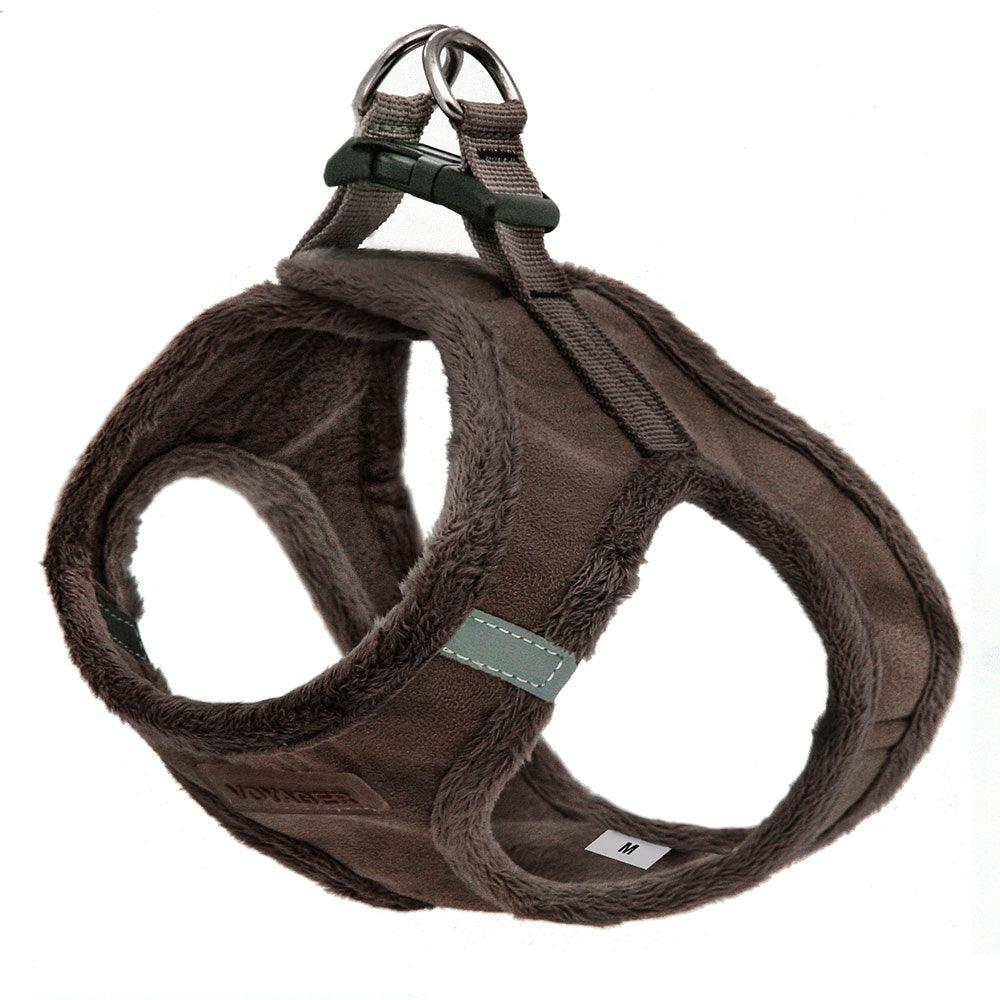 VOYAGER Suede Step-In Plush Pet Harness in Chocolate - Expanded