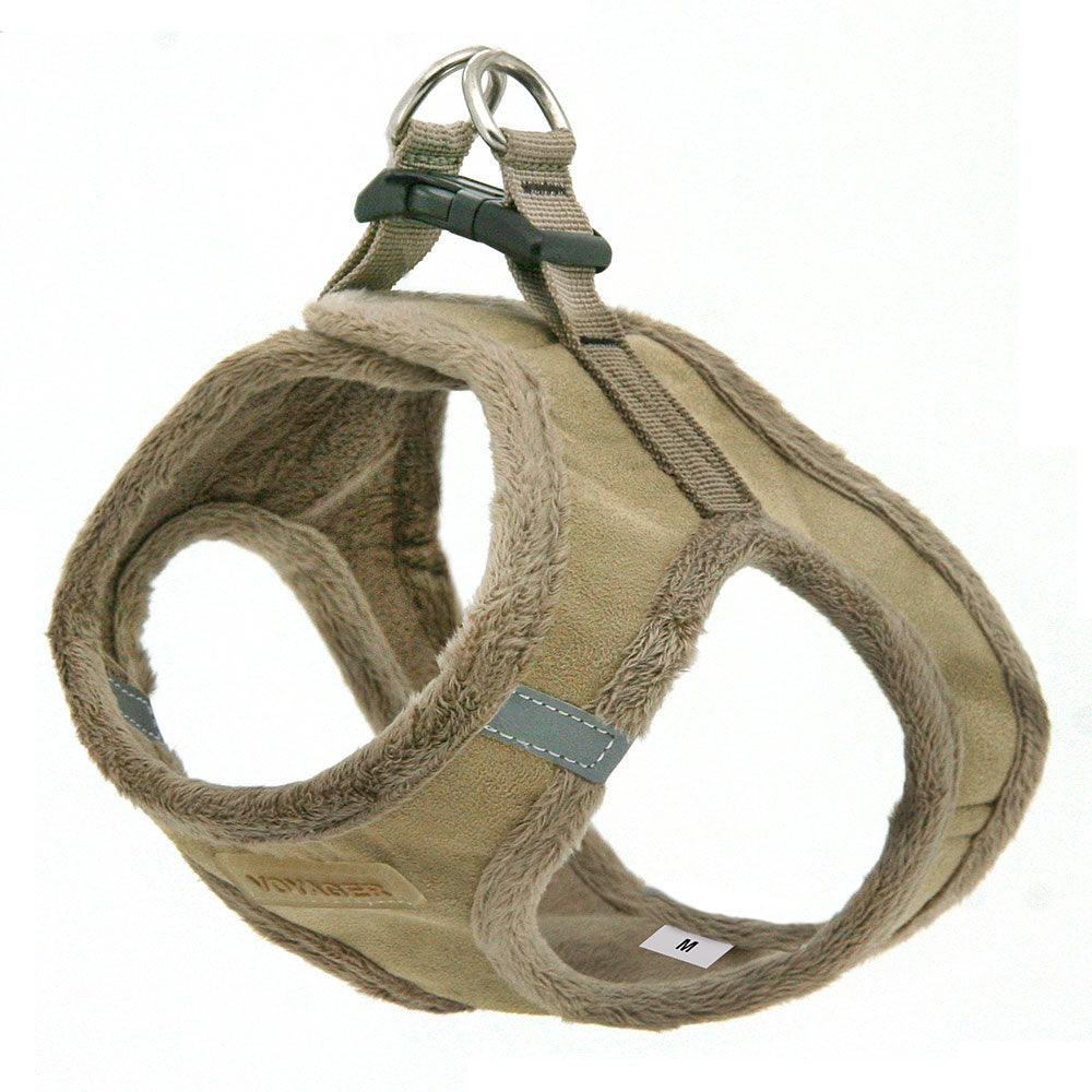 VOYAGER Suede Step-In Plush Pet Harness in Latte - Expanded