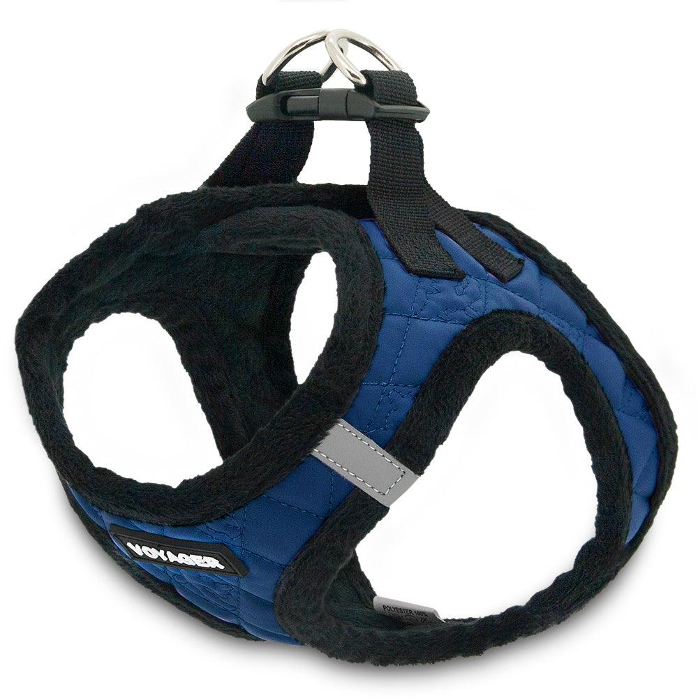 VOYAGER Faux Leather Step-In Plush Pet Harness in Royal Blue - Expanded