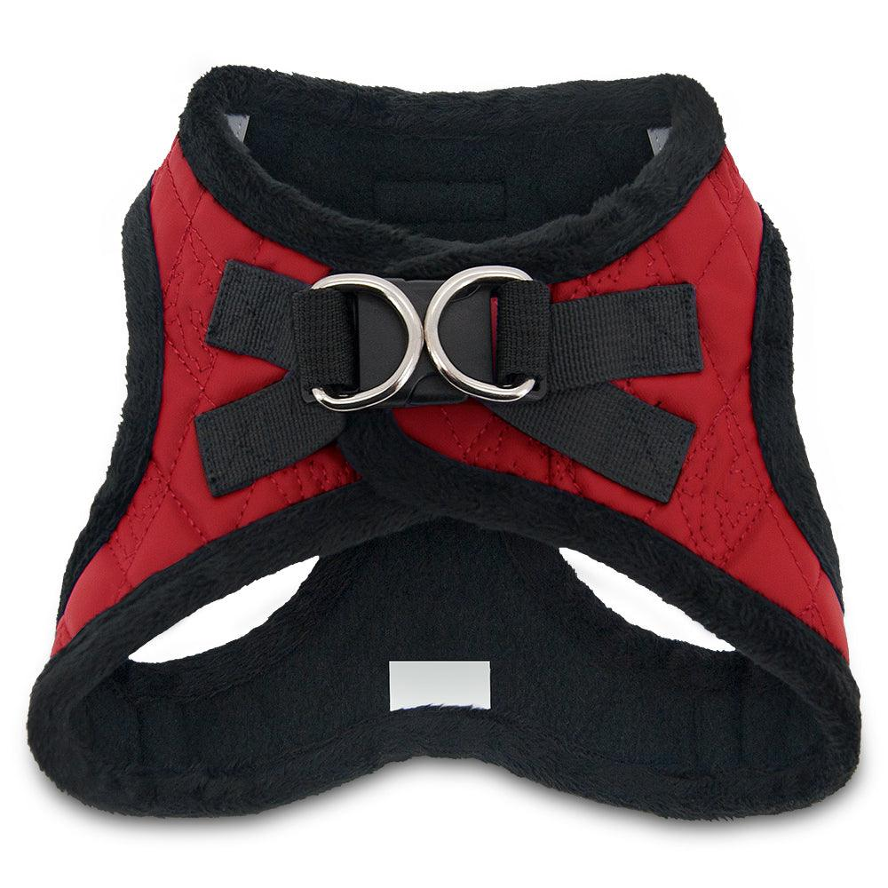 VOYAGER Faux Leather Step-In Plush Pet Harness in Red - Back