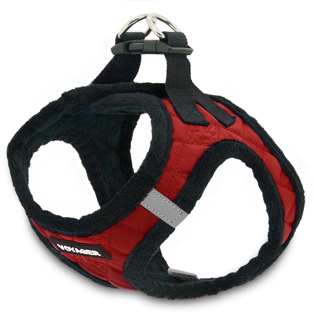 VOYAGER Faux Leather Step-In Plush Pet Harness in Red - Expanded