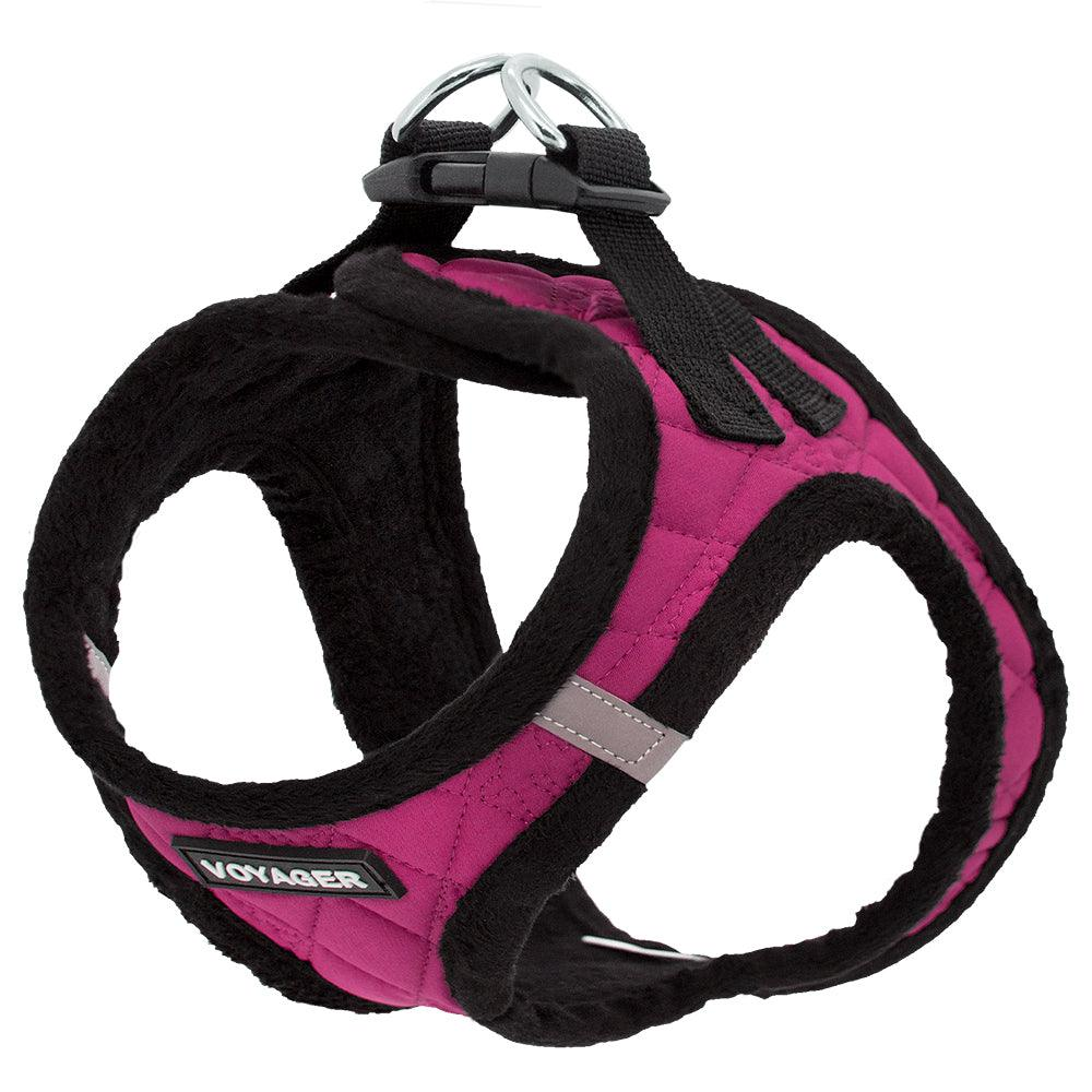 VOYAGER Quilted Step-In Plush Pet Harness in Red Rose Magenta - Expanded