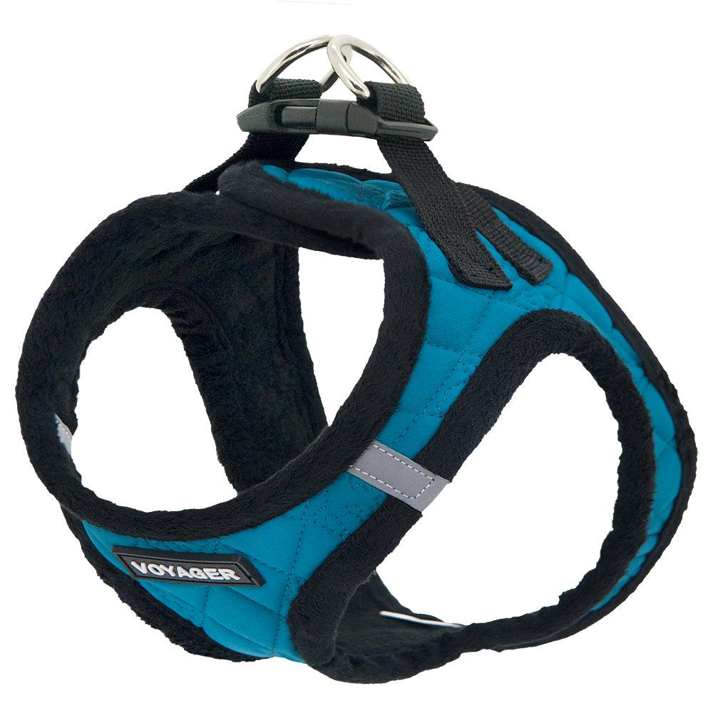 VOYAGER Quilted Step-In Plush Pet Harness in Turquoise - Expanded