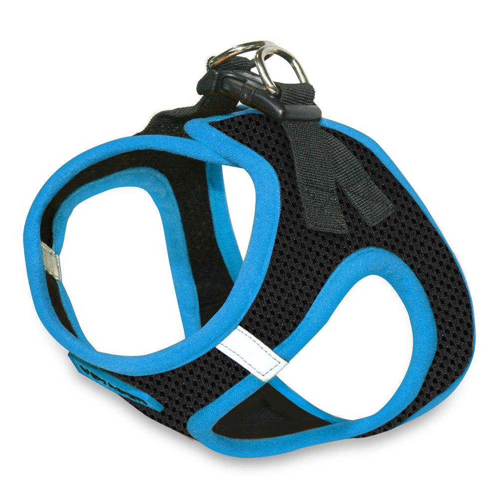 VOYAGER Step-In Air Pet Harness in Black with Blue Trim - Expanded