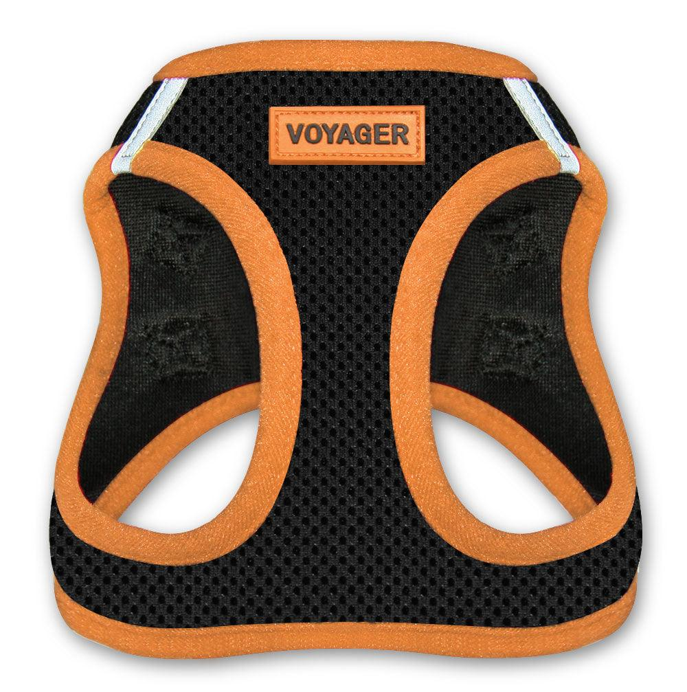 VOYAGER Step-In Air Pet Harness in Black with Orange Trim - Front
