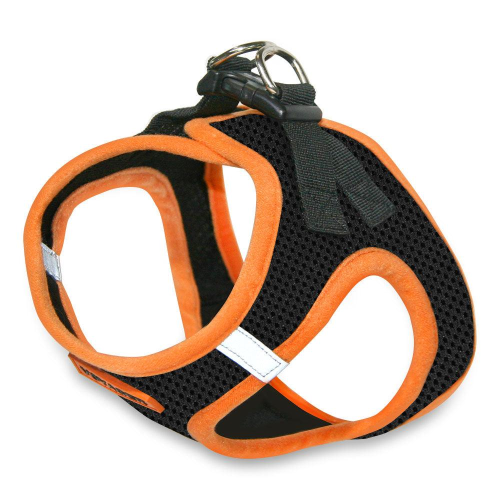 VOYAGER Step-In Air Pet Harness in Black with Orange Trim - Expanded