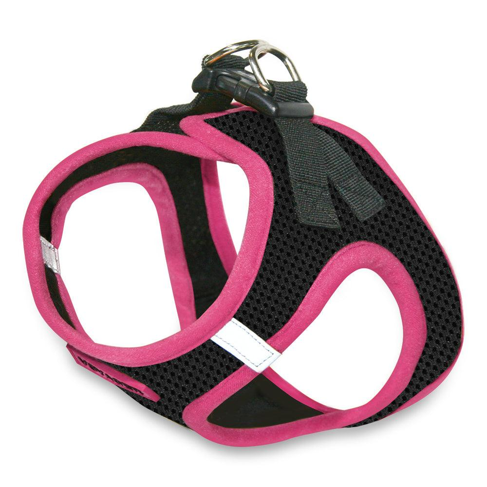 VOYAGER Step-In Air Pet Harness in Black with Pink Trim - Expanded