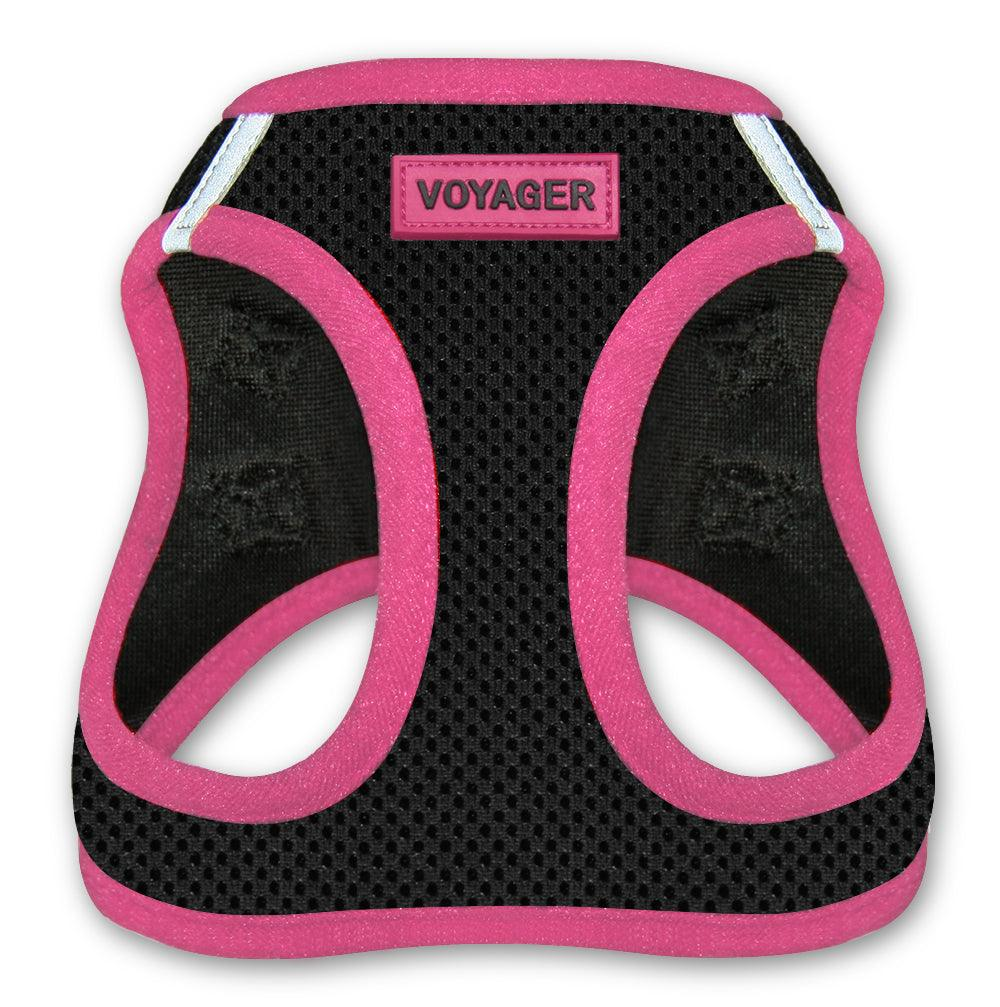 VOYAGER Step-In Air Pet Harness in Black with Pink Trim - Front